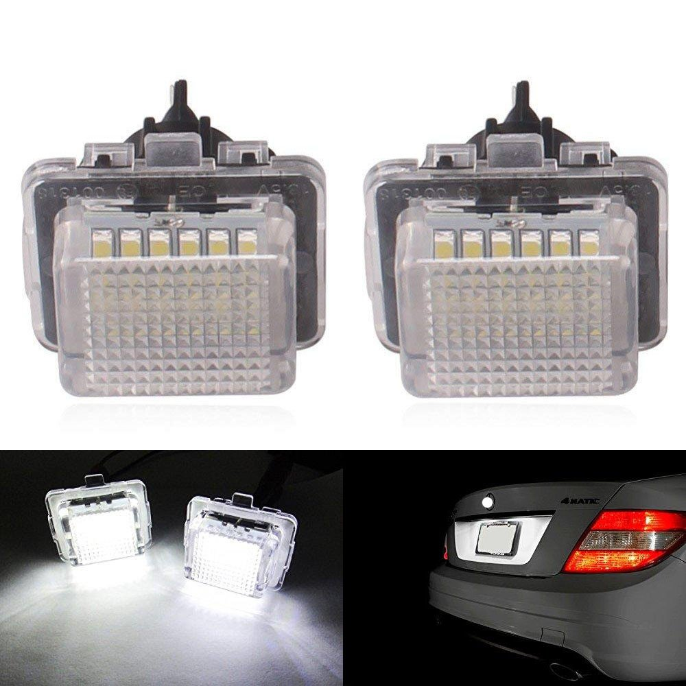 2pcs Car License Plate Light for Honda Crosstour Odyssey Stream Fit//Jazz Insight CR-V HR-V FR-V//Edix Error Free 3W 18 Led White Rear License Tag Lights Rear Number Plate Lamp Direct Replacement