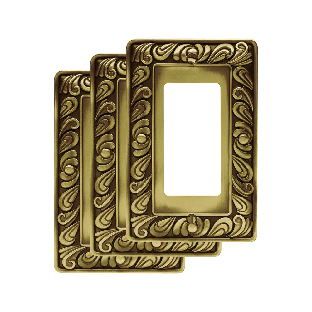 Franklin Brass 64047M Paisley Single Decorator Wall Plate / Switch Plate / Cover Tumbled Antique Brass, (3 Pack) Liberty Hardware