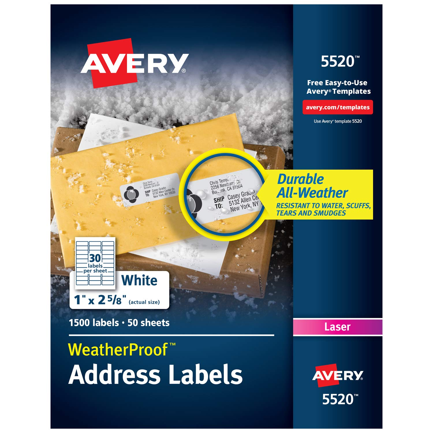 "Avery WeatherProof Address Labels with TrueBlock Technology for Laser Printers 1"" x 2-5/8"", Box of 1,500 (5520), White"