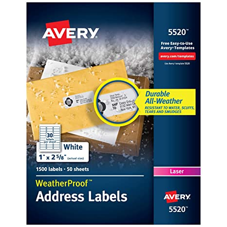 graphic about Waterproof Printable Labels named Avery WeatherProof Go over Labels with TrueBlock Technologies for Laser Printers 1\