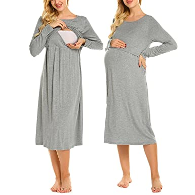 Skylin Cotton Nursing Nightgown Women O-Neck Long Sleeve Layered Maternity  Pregnant Nightdress S-XXL at Amazon Women s Clothing store  af7a61121