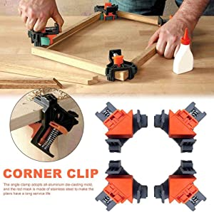 90 Degree Angle Clamps,Clamps for Woodworking, Set of 4 Multifunction Angle Clamp Corner Clip Fixer for Wood-Working, Engineering, Photo Frame DIY Hand Tools