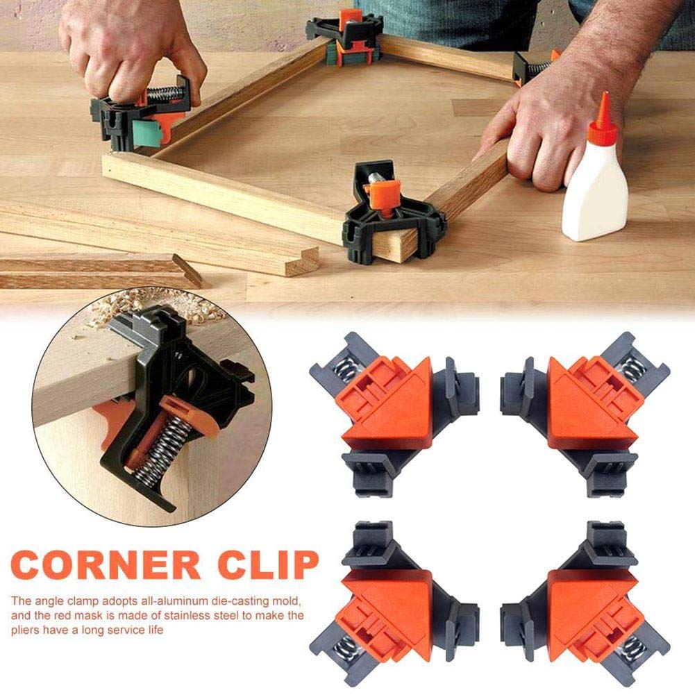 Angle Clamp, 4PCS 90 Degree Corner Clamp, Right Angle Locator, Multifunctional Corner Clamp tools for Carpenter, Welding, Wood-working, Engineering, Photo Framing(8.5x8x6cm)