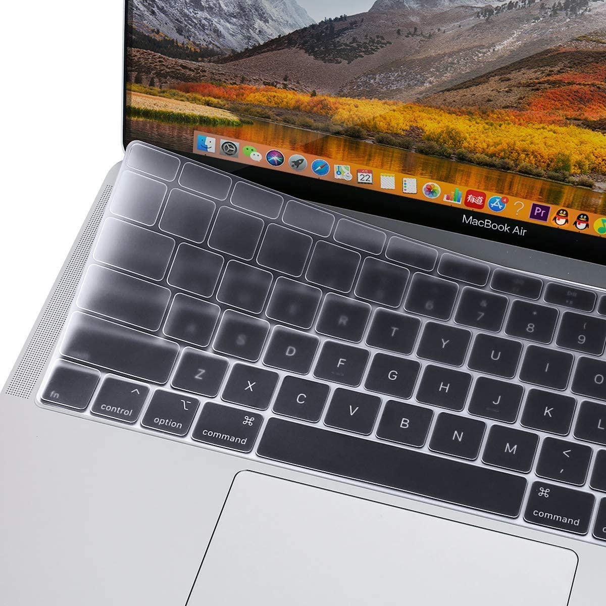 MOSISO Keyboard Cover Only Compatible with MacBook Air 13 inch 2020 Release A2179 Backlit Magic Keyboard with Retina Display & Touch ID, Waterproof Dust-Proof Protective Silicone Skin, Transparent