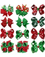 QtGirl 12 PCS Christmas Hair Bows Ribbon Hairbow Alligator Clips for Baby Girls