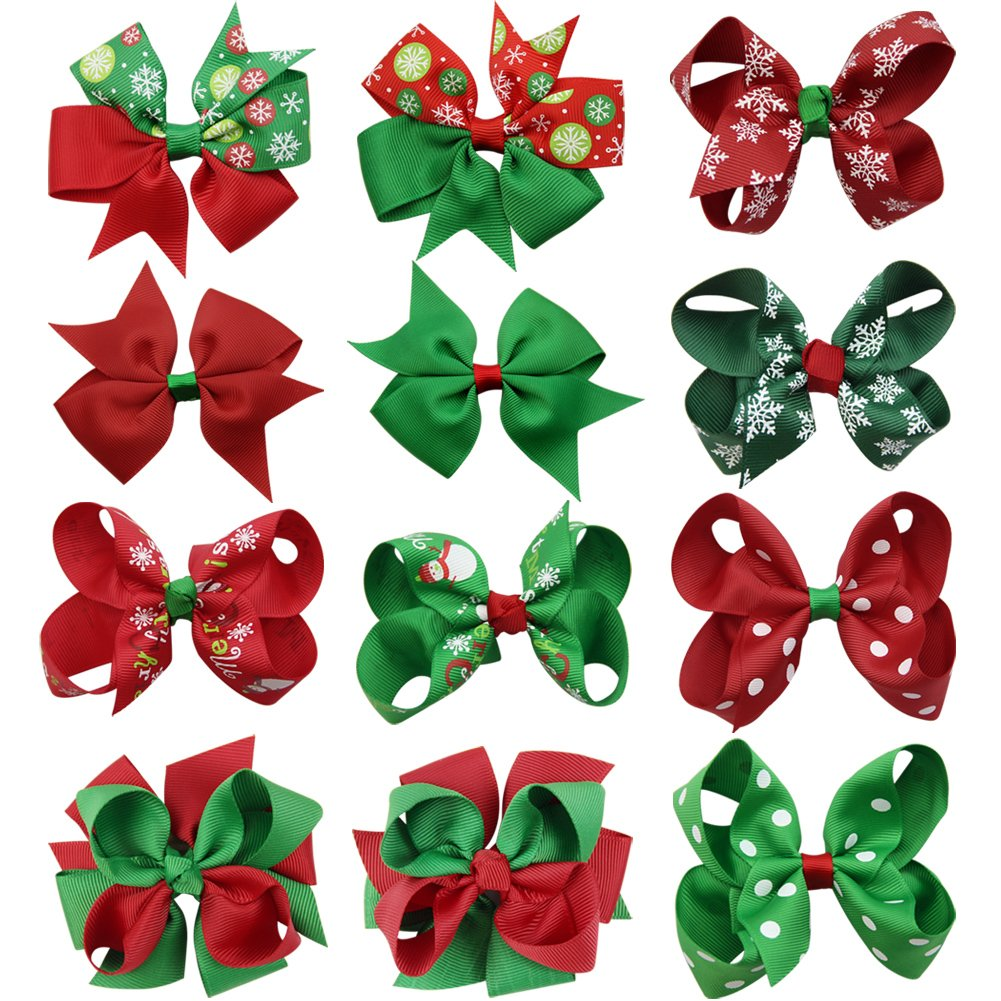 QtGirl 8 Pieces 4 and 5 Christmas Hair Bows in Pairs for Baby Girls Toddlers NJY061C@#SD