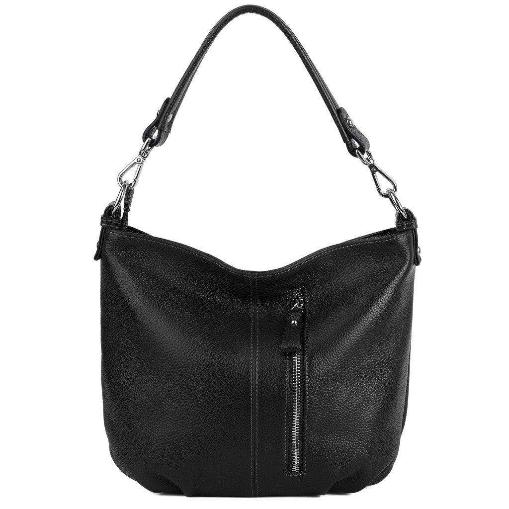 YALUXE Women's Front Pocket Soft Cowhide Leather Small Mini Purse Hobo Style Shoulder Bag Black