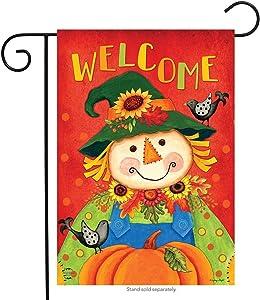 """Briarwood Lane Harvest Scarecrow Fall Garden Flag Primitive Autumn 12.5"""" x 18"""""""