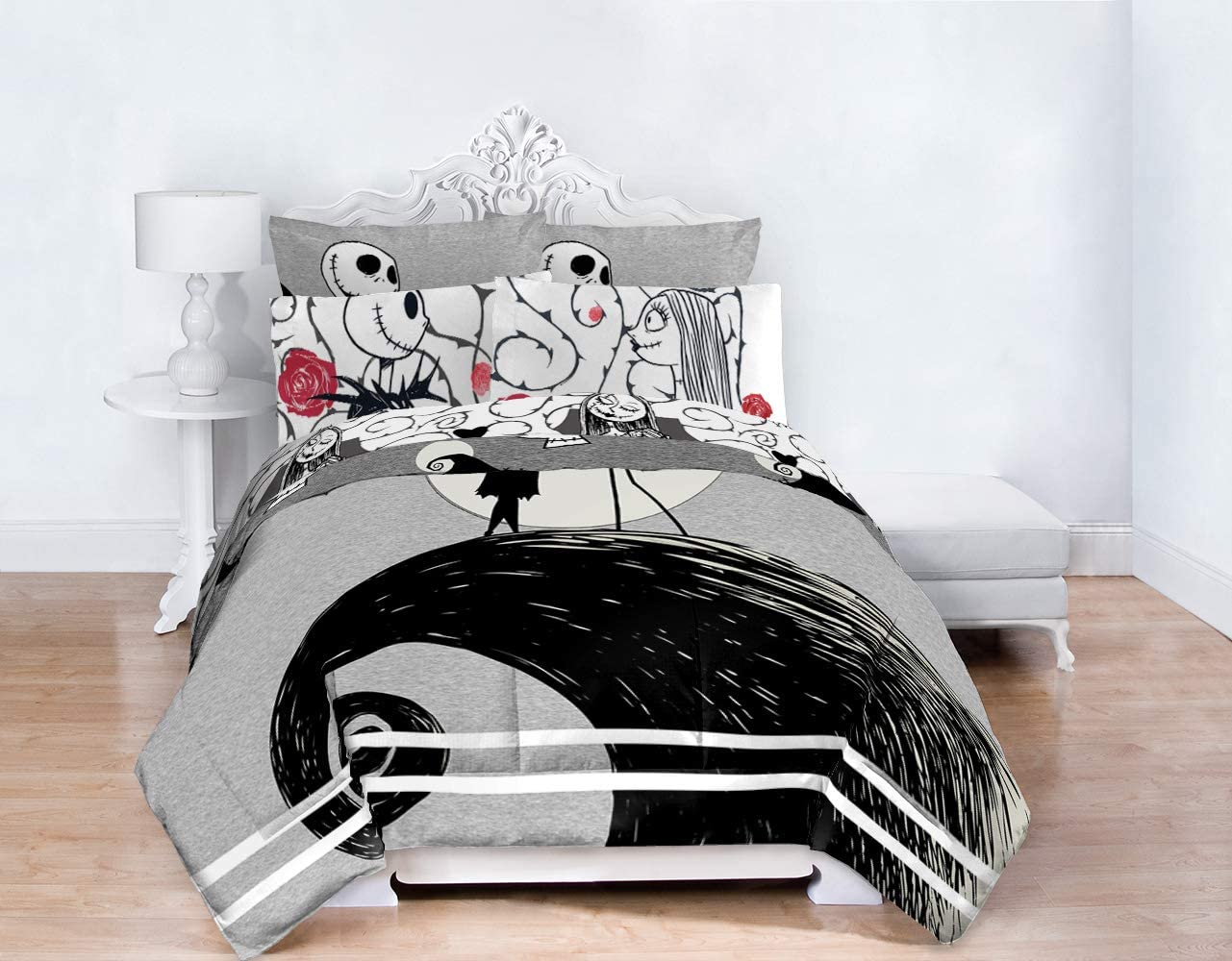 Disney Nightmare Before Christmas Moonlight 7 Piece Full Bed Set - Includes Reversible Comforter & Sheet Set - Features Jack Skellington and Sally