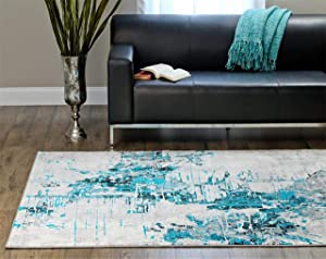 Luxe Weavers Abstract Turquoise 8x10 Area Rug