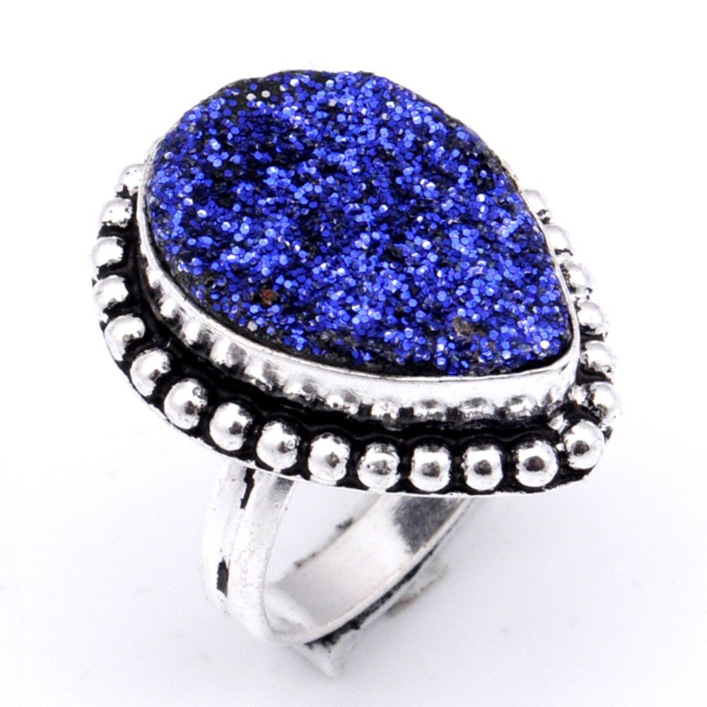 Handmade Jewelry Ethnic Wear Blue Sparking Druzy Sterling Silver Overlay Ring Size 7 US