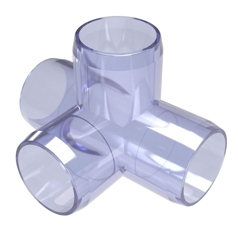 FORMUFIT F1144WT-UV 4-Way Tee PVC Fitting, Furniture Grade, 1-1/4
