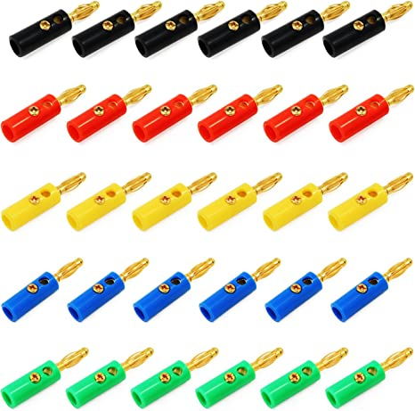 100 Pcs 4mm Gold Plated Audio Speaker Wire Cable Screw Banana Plug Connector
