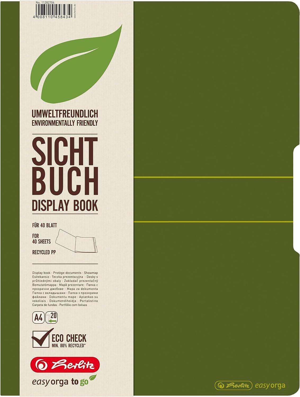 Dark Green 20 Folder Herlitz A4 Recycling Display Book