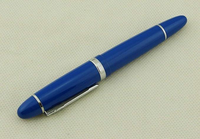 Jinhao 159 Pluma estilogr/áfica con borde azul y plata bol/ígrafo de firma regalo de escritura suave con estuche para bol/ígrafos punta mediana tama/ño grande