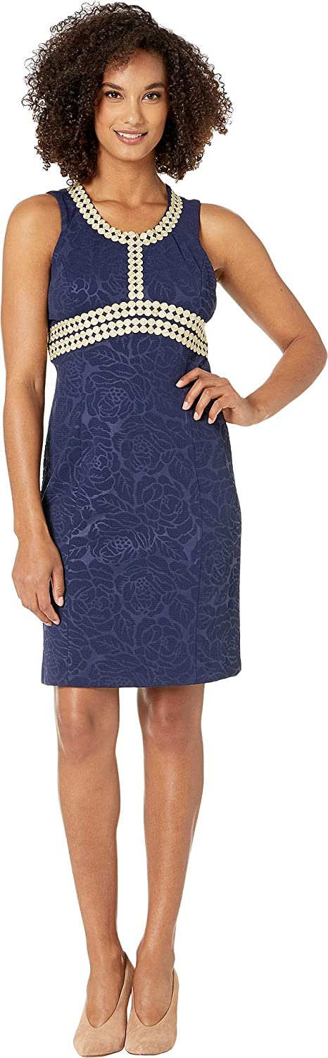 Pappagallo Women's The Mandy Dress  Stamped Floral Navy gold 18