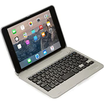 Funda-Teclado Apple iPad Mini 1 2 3, Cooper Kai SKEL P1 Carcasa Teclado inalámbrico Bluetooth portátil Macbook, 13 atajos, Plateada