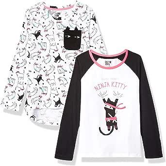 Spotted Zebra Long-Sleeve T-Shirts Niñas, Pack de 2