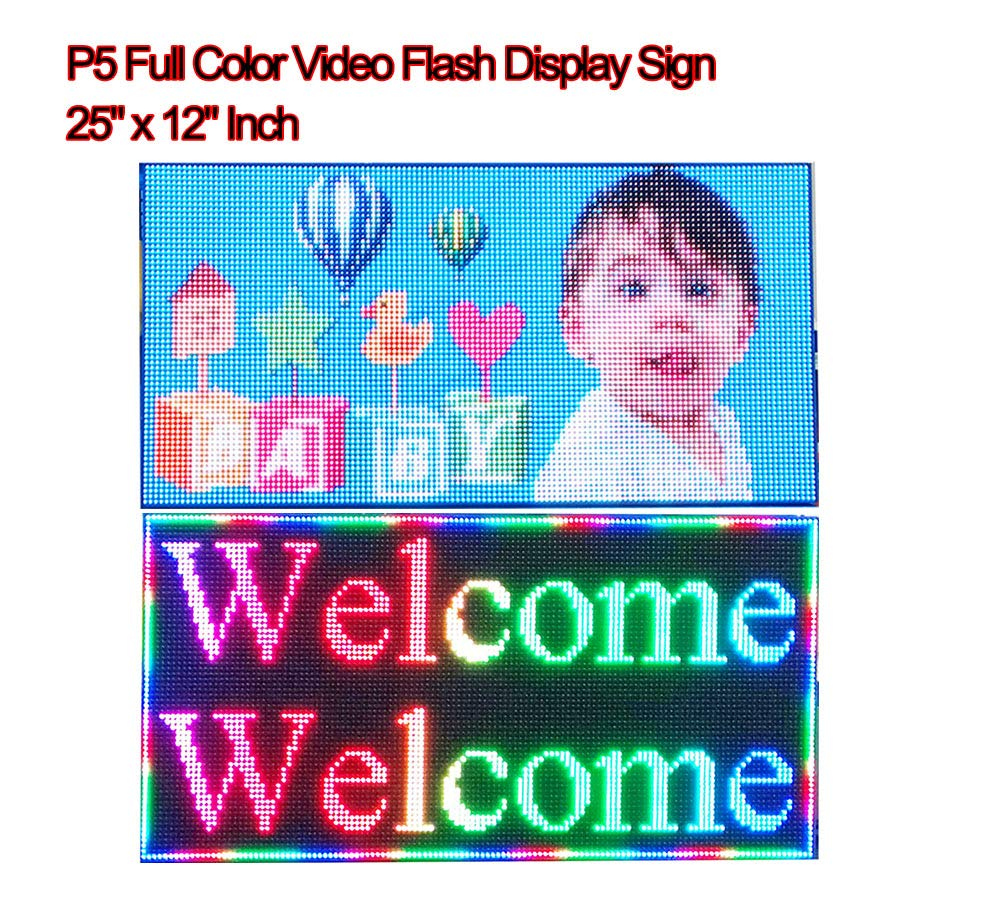 Video Full Color High Definition P5 LED Sign 25''x 12'' Programmable Scrolling Display Message Board