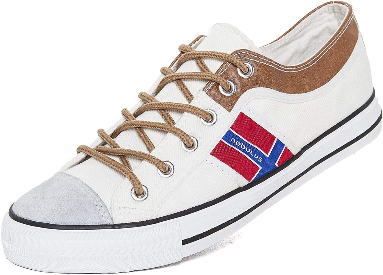 Nebulus Sneaker Utah, Leder, Vintage–Look, Schuhe (T147) Weiß Weiß