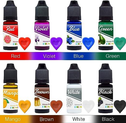 Colorante Caucho Silicona - 8 Colores x 10ml Pigmento Silicona Líquida para la Fabricación de Moldes de Silicona, Moldeo y Fundición - Tinte Color de ...