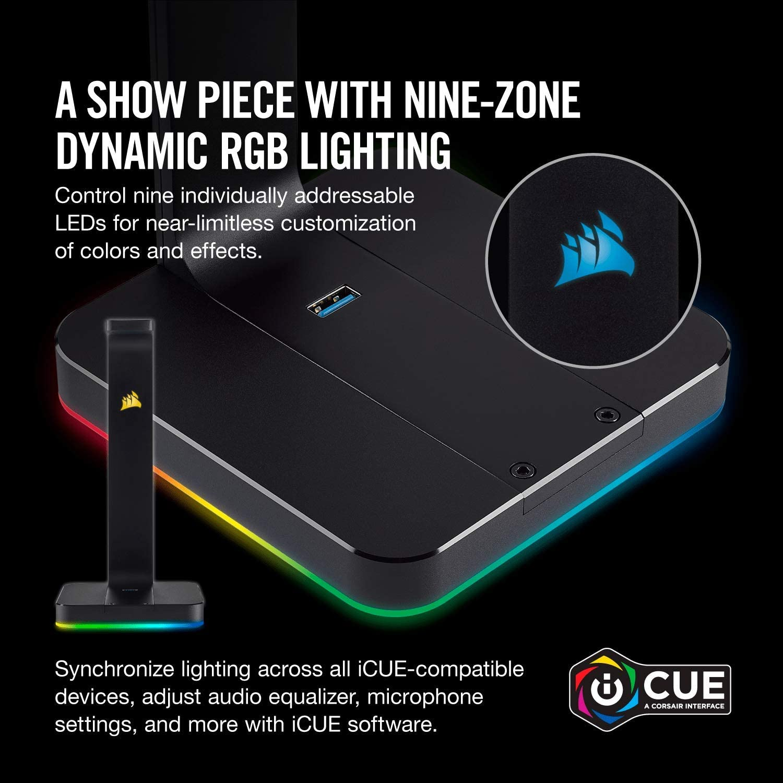 Durable Aluminium Construction, Dynamic 9 Zone RGB Lighting /& M65 PRO RGB Optical FPS Gaming Mouse Corsair ST100 RGB Premium Headset Stand 12000 DPI Optical Sensor