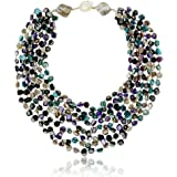 20 Inch Purple & Blue MultiColor Simulated Shell Pearls Multi-Strand Twist Necklace