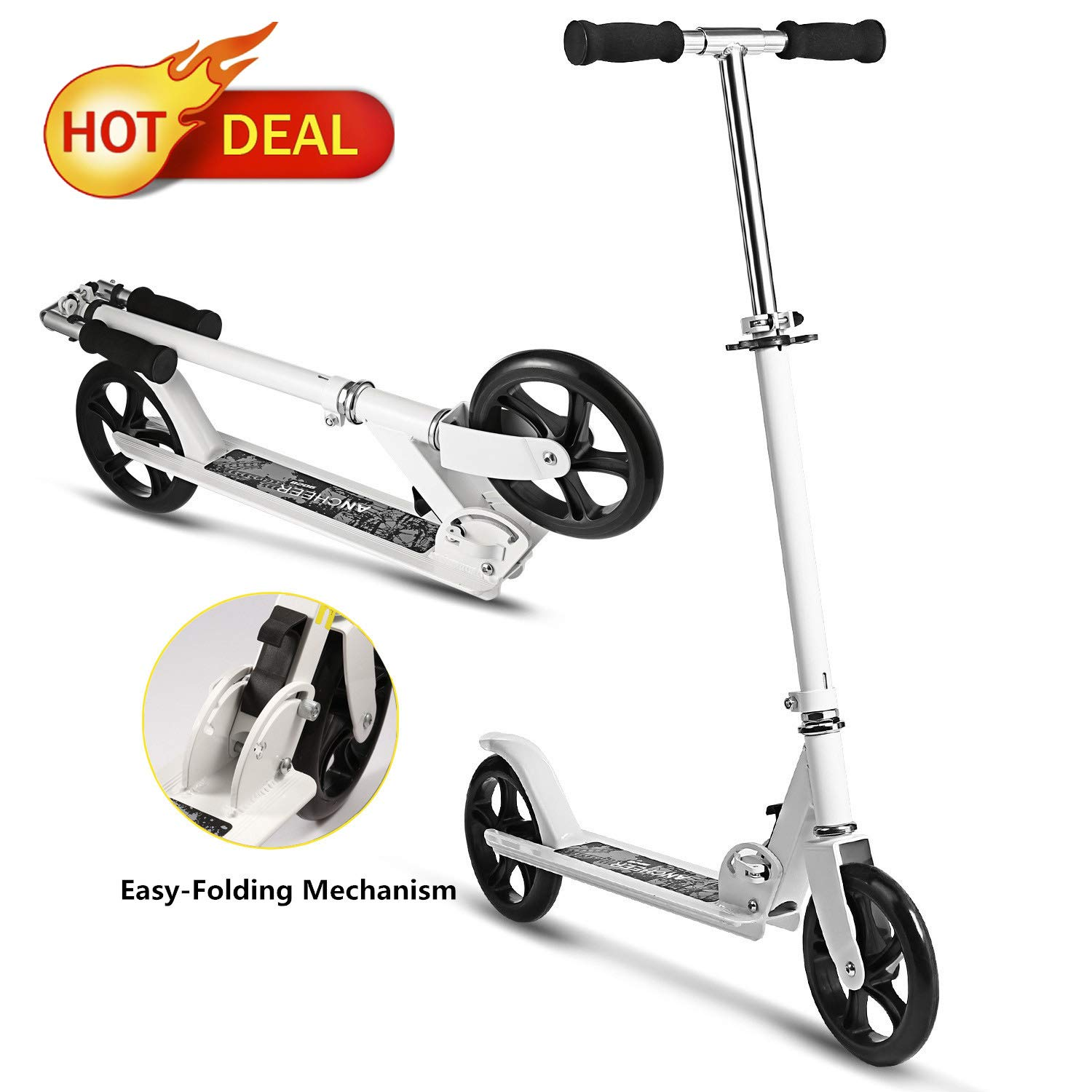 Juane Folding Kick Scooter with 3 Levels Adjustable Height 8 inches Big Wheels Rear Fender Brake Max Load 200LB Age 12 up for Adults Teens Kids (White) by Juane