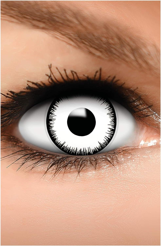 FUNZERA Lentes de contacto de Halloween de color, lentilla de motivo blanco, 1 par, un solo uso sin receta, disfrazarse como un VAMPIRO