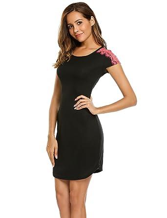 e6230b94d0 ADOME Women s O-Neck Short Sleeve Nightgown Long Nightshirts Sleepwear S  Black