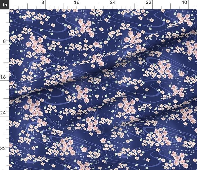 Japanese fabric coupon cotton sakura cherry blossoms Mount Fuji pink blue 1 m x 1.4 m