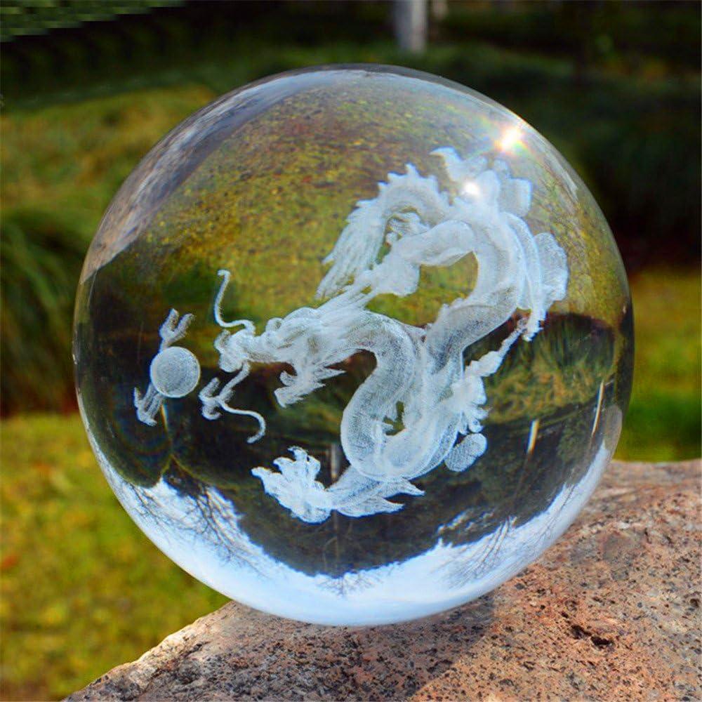 imagen en relieve con Crystal soporte de bola de drag/ón esfera cristal bola de cristal Pure Claro Cristal Grabado por l/áser 60mm
