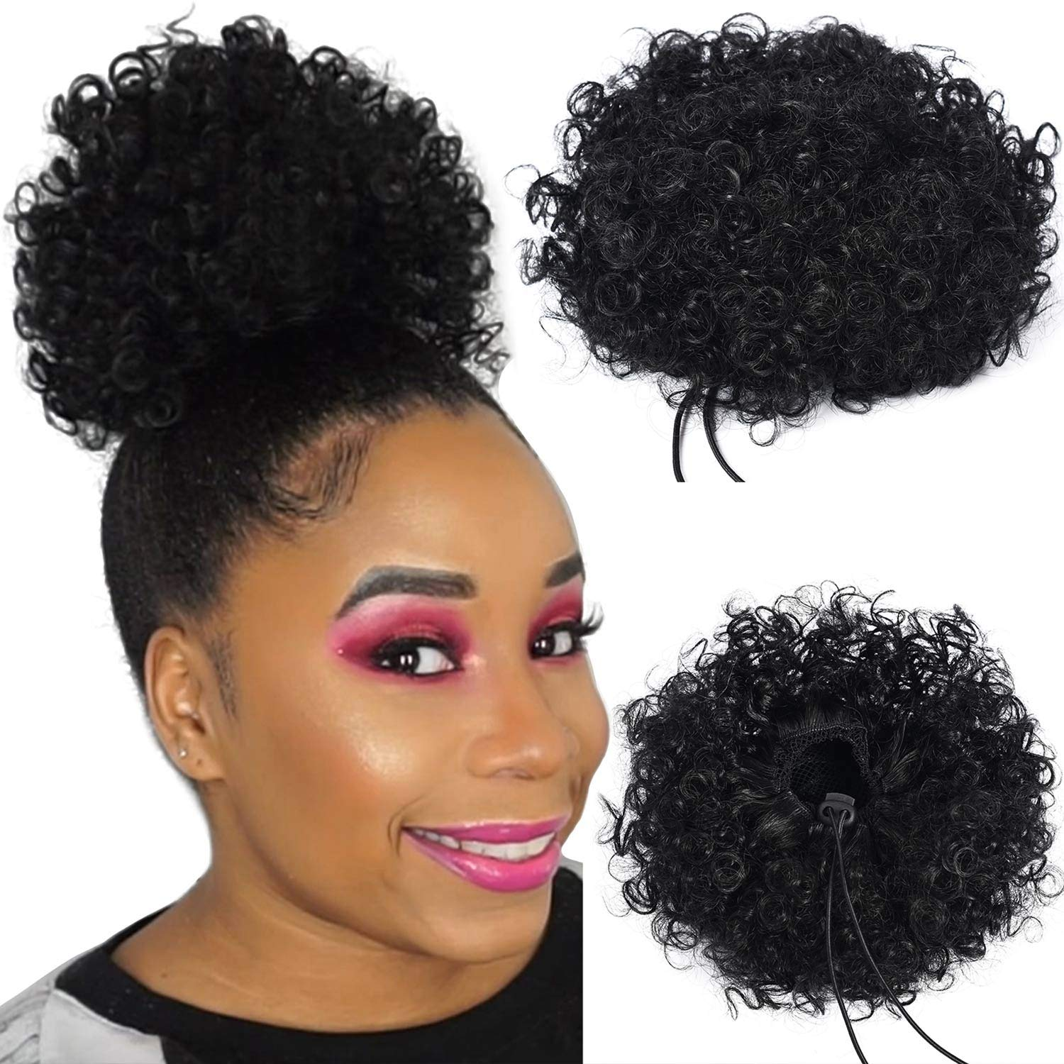 Armmu Afro Kinky Curly Hair Bun Wrap Drawstring High Puff Ponytail Short Updo For Natural Hair With 2 Clips 1b