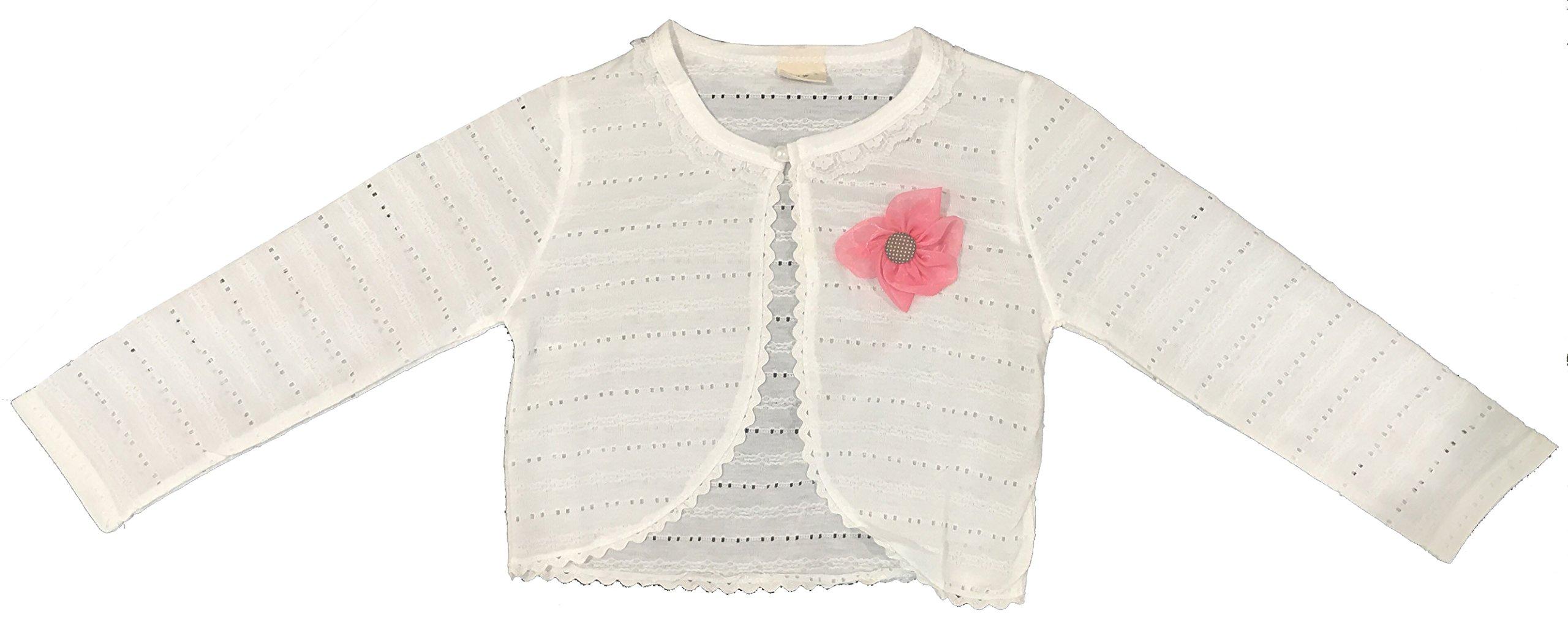 Long Sleeve Lace Cardigan Shrug Big Girl Special Occasion Bolero Off White 7-8 (150) (Kedor)