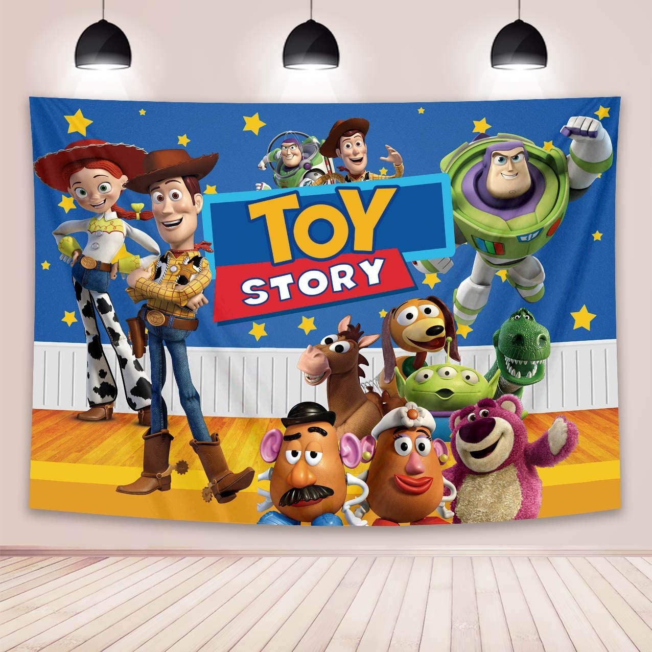 Cartoon Toy Story Photography Backdrop 7x5FT Blue Sky Star Kids Birthday Party Boy Baby Shower Background Studio Photography Props