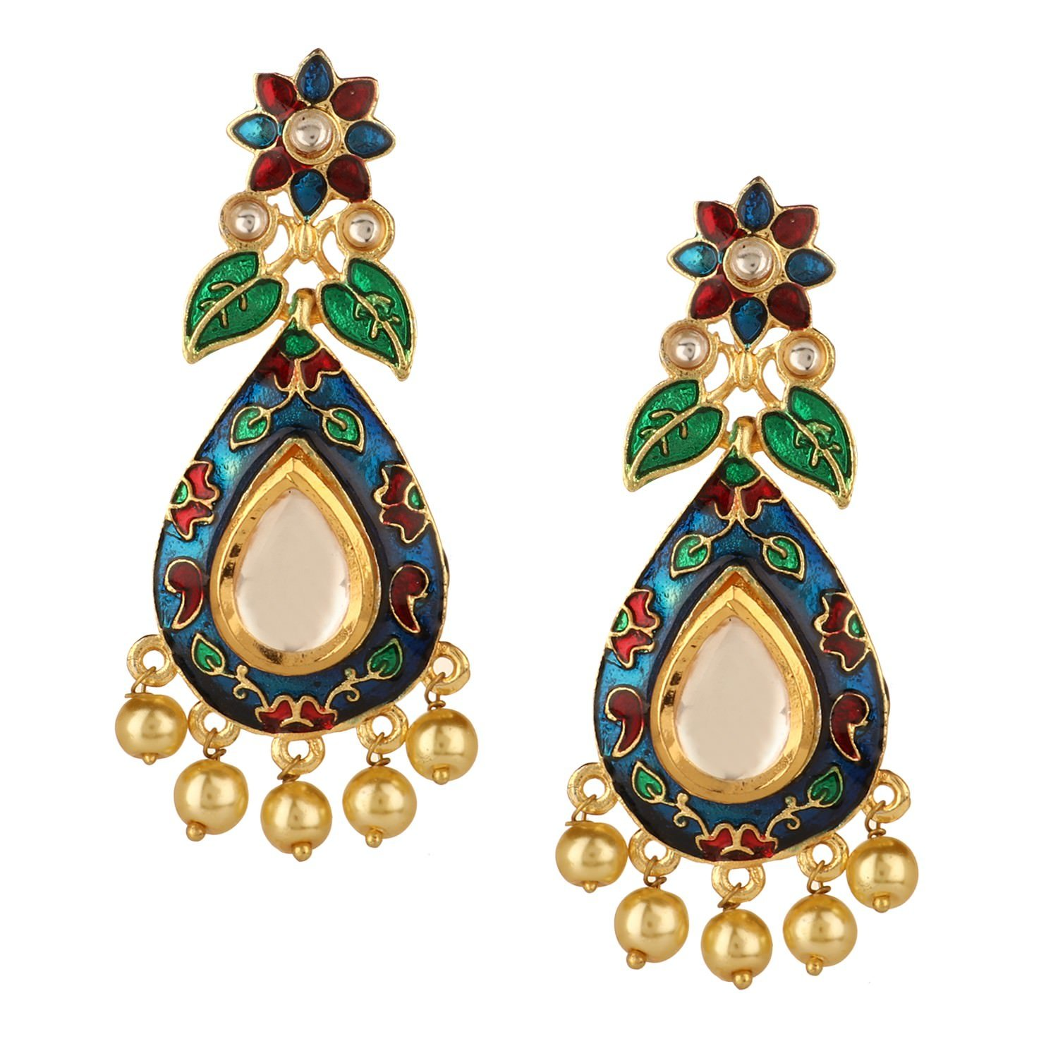 Efulgenz Indian Bollywood 14K Gold Plated Crystal Kundan Pearl Leaf Floral Chandelier Dangle Earrings Jewelry Set