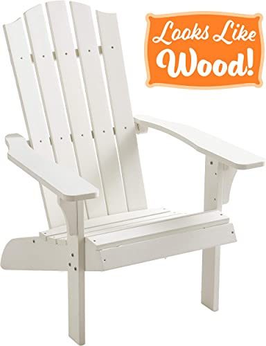 PolyTEAK Element Faux Wood Poly Adirondack Chair, White Adult-Size, Weather Resistant, Made from Special Formulated Poly Lumber Plastic