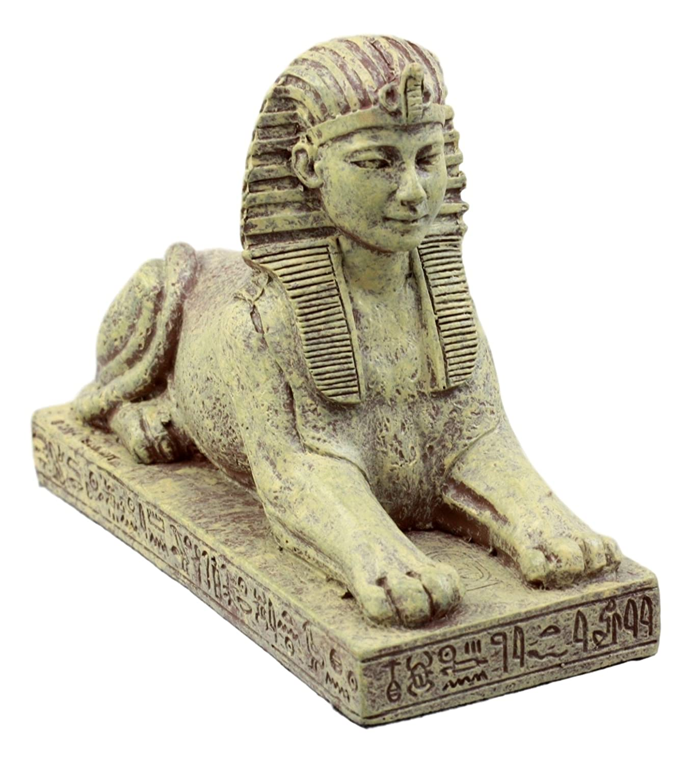 Ebros Gift Ancient Egyptian Guardian Sphinx Figurine 4.25 L Androsphinx Lion Decorative Collectible in Sand Clay Finish