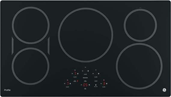 GE PHP9036DJBB 36 Inch Cooktop with 5 Induction, 3,700-Watt Element, Pan Size Sensors, SyncBurners, Red LED Display, Kitchen Timer, ADA Compliant Fits ...