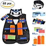 INKERSCOOP Tactical Vest per Bambini Giochi all'Aperto Camuffamento con 60pcs Freccette,1-Occhiali Protettivi,2-Rapido Clip Aggiornare,1-Maschera per il Viso,2-Mano Braccialetti da Polso