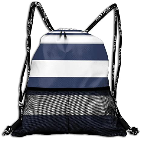 9434ad7ef96fa5 Image Unavailable. Image not available for. Color: Techdecorhomee Bundle  Backpacks Gym Drawstring Bags Navy Blue White Nautical ...