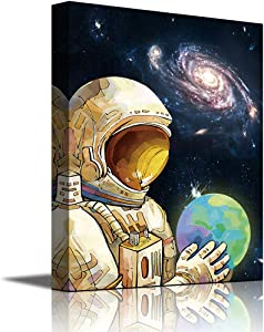 Space Canvas Wall Art Decor Astronaut Exploring Outer Space Print Painting Framed Ready to Hang for Kids Room Child Bedroom Home Decorations (Blue-Space, 16