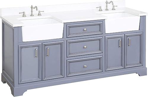 Zelda 72-inch Double Bathroom Vanity Quartz/Powder Gray : Includes Powder Gray Cabinet