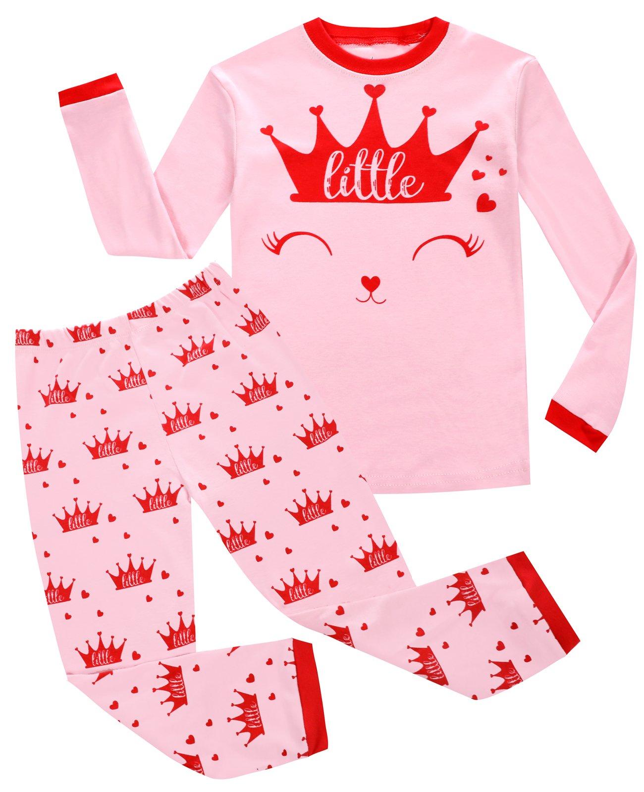 Joyond Girls Cat Pajamas 100% Cotton Long Pjs Toddler Clothes Kids Shirts Set(cat 18-24M)
