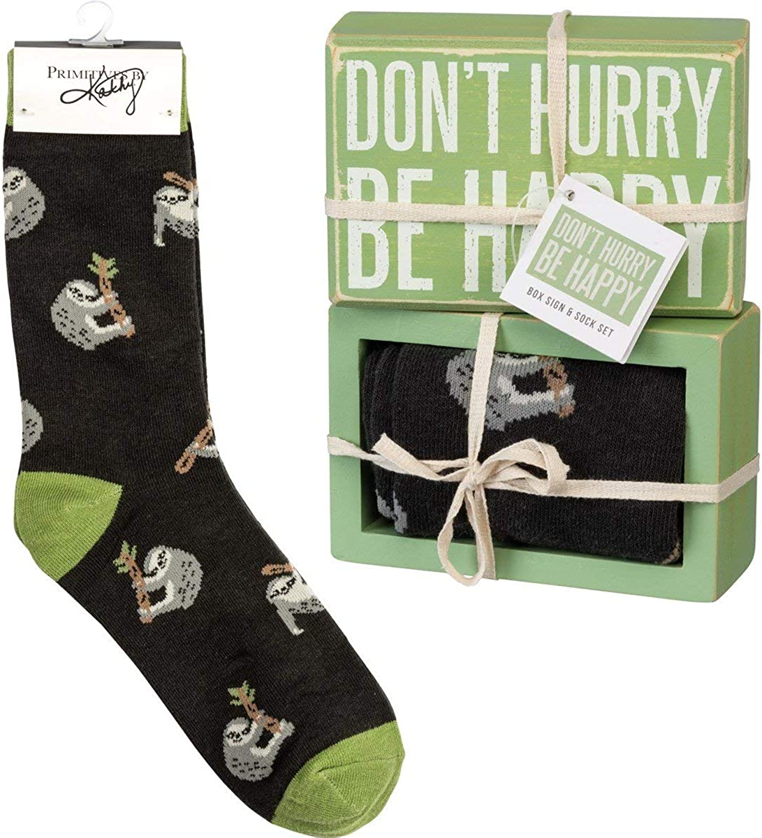 PRIMITIVES BY KATHY Don't Hurry Be Happy Box Sign and Socks Giftable Set
