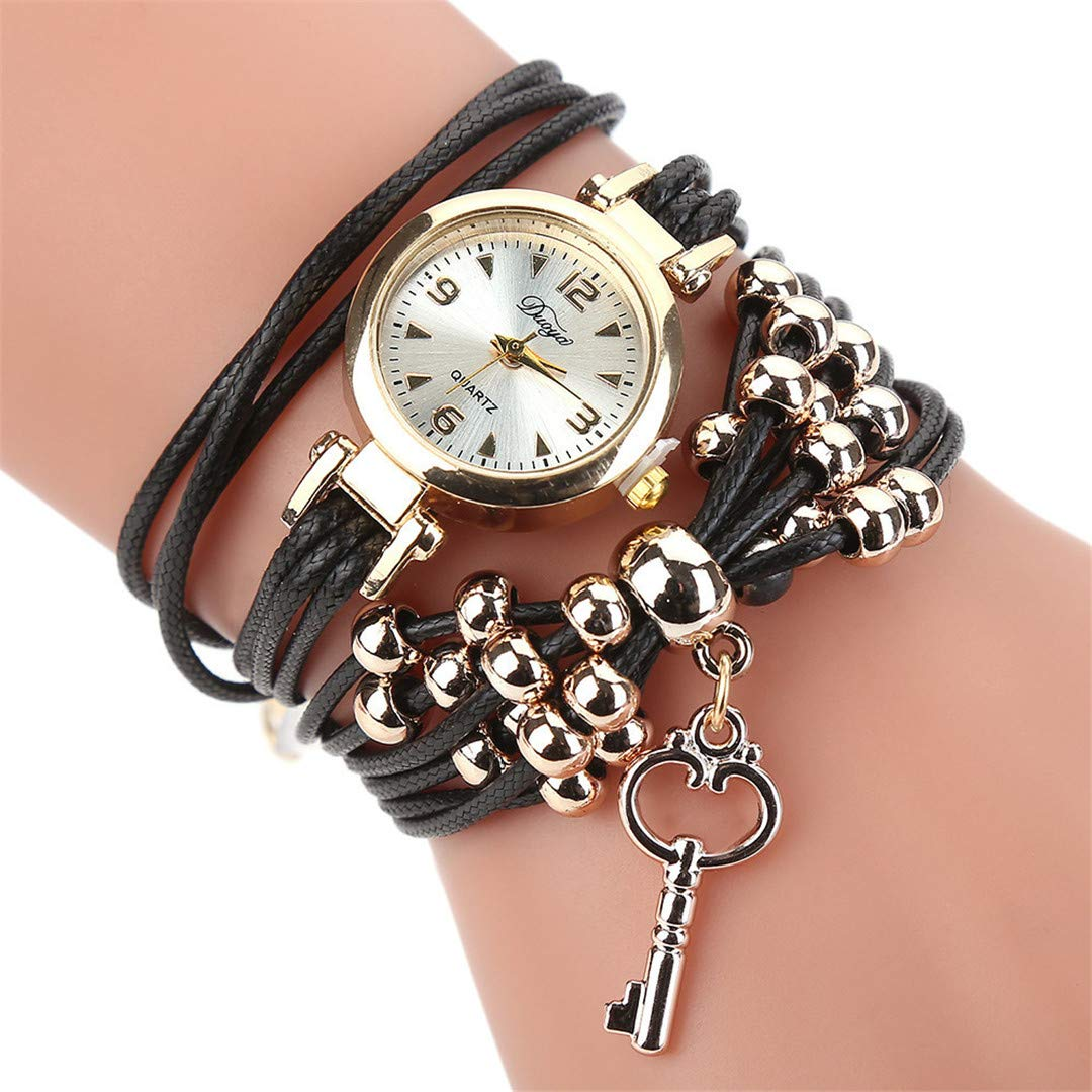 Amazon.com: Women Watches Bracelet Watch Ladies Fashion Womens Dress Watches Slim Leather Circle Band Gold Dial Quartz Wristwatches P40 Brown: Beauty