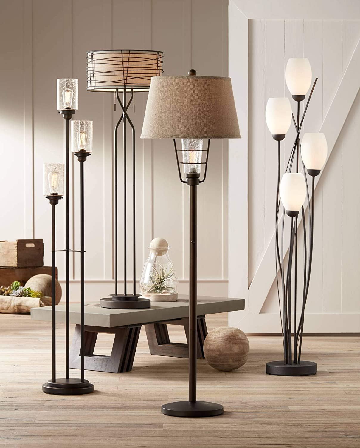 Modern Floor Lamp 4-Light Tree Ginger Black Tulip White Cased Glass Shades for Living Room Bedroom Uplight – Franklin Iron Works