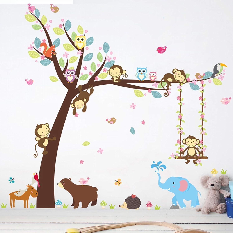 Eutecado Jungle Animal Theme Wall Decals, Cartoon Monkey Tree Owls Elephant Wall Stickers, Colorful Vinyl Wall Art Murals for Nursery Bedroom Classroom