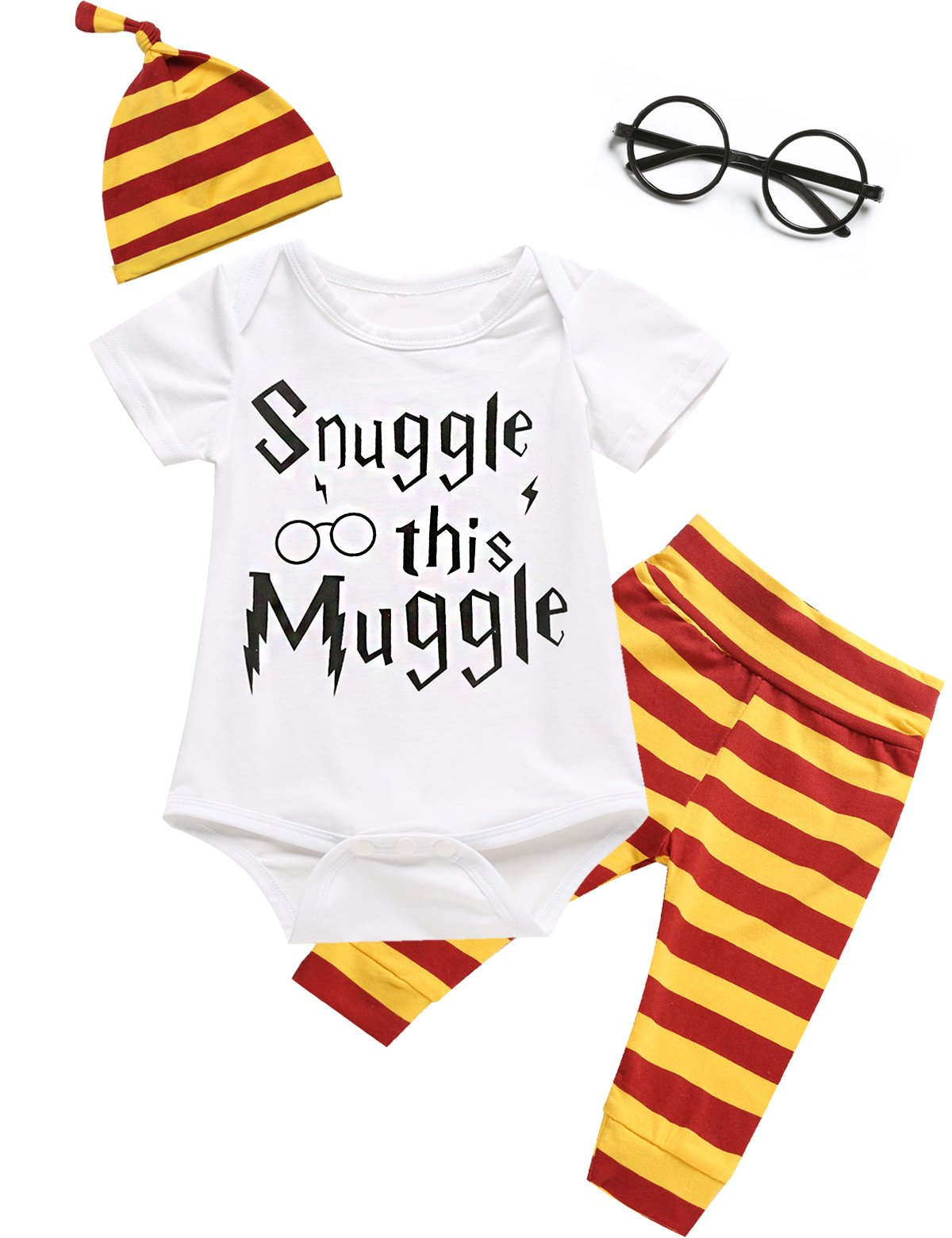 Angebebe 4Pcs Outfit Set Baby Boy Girls Snuggle This Muggle Romper with Classes (6-12 Months, White)