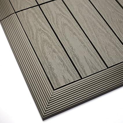 Newtechwood us-qd-of-zx-st 1/6 x 1 ft. Rápido compuesto cubierta embellecedor de azulejos fuera de esquina en egipcio piedra gris ((2 unidades/caja): ...